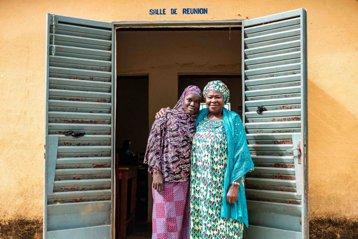 Tata Djire with a female Field Facilitator (someone responsible for training BCI Farmers). © BCI/Nicholas Adatsi